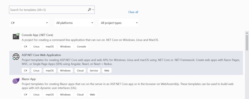 Create new ASP.NET Core web application in Visual Studio 2019.