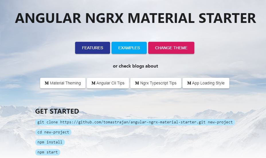 Angular NgRx Material Starter default Hello World